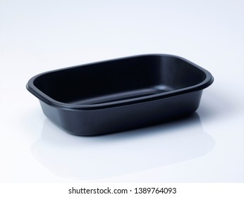 Plastic food container on white background