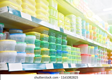 Plastic food containers on the shelf in the store