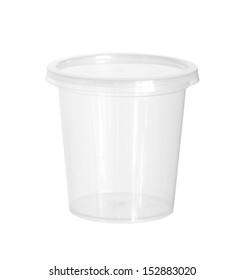 塑料食品杯(带剪切路径)隔离在白色背景上