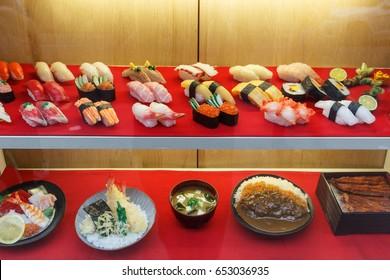 plastic food, fake sushi in display window