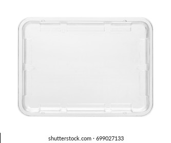 Plastic food tray, top view (with clipping path) isolated on white background