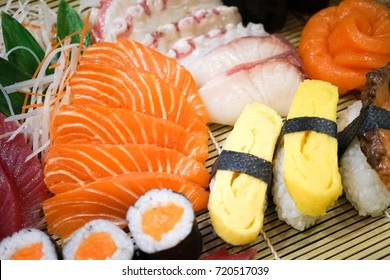 plastic food for window display. Japanese sashimi with soft focus on salmon, a replica of a real food for display in front of the restaurant. (fake food display)