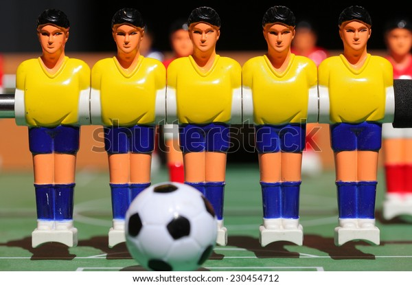 plastic football player. board game.Tabletop football game. For entertainment sports.