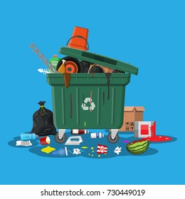 Plastic garbage bin full of trash. Overflowing garbage, food, rotten fruit, papers,containers and glass. Garbage recycling and utilization equipment. Waste management illustration in flat style
