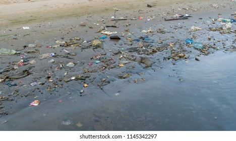 Plastic garbage on the beach