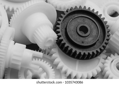 The plastic gear. Photo fragment of machine.