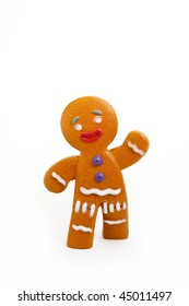 Plastic gingerbread man isolated on white background