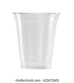 Plastic Glass isolated on white background with clipping path