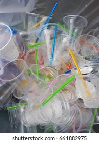 Plastic glass  in recyclable waste,