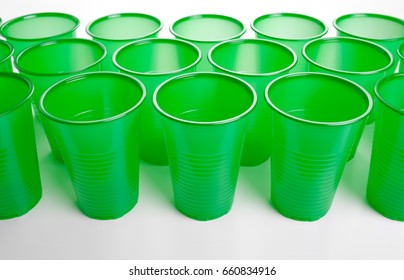 plastic glasses isolated on white background