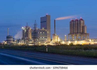 Plastic Granular Factory in night time