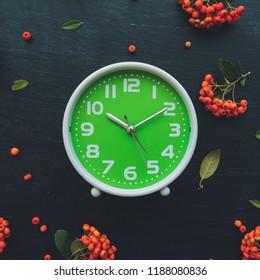 Plastic green alarm clock on dark wooden background, flat lay top view minimal composition with retro wild berry fruit arrangement