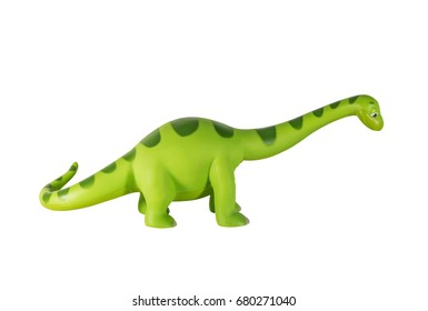 Plastic green dinosaur toy, Brontosaurus  isolated on white background