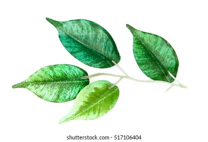 plastic green leaves on a white background