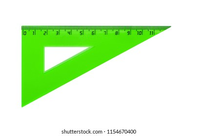 Plastic green triangle for measuring centimes, millimeters and angles. Isolated on white.