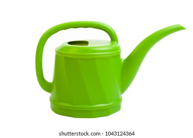Plastic green watering can on white.