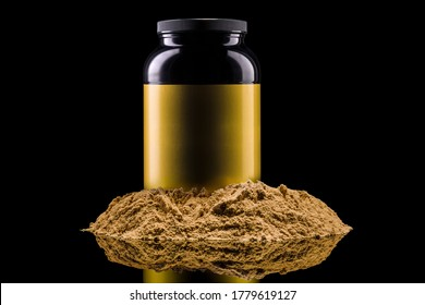 Plastic jar of sport nutrition like whey protein casein, bcaa, creatine on heap of powder isolated on black background with clipping path. Concept of fitness supplement