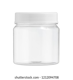 Plastic jar (with clipping path) isolated on white background