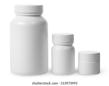 Plastic jars of different sizes for medicines isolated on white background