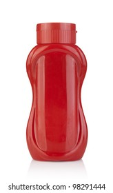 Plastic ketchup bottle isolated on white