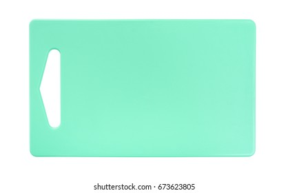 Plastic kitchen cutting board. Isolated on white background.