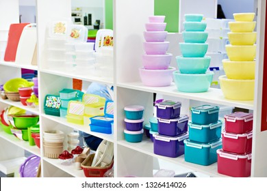 Plastic kitchen food containers in the store of household goods