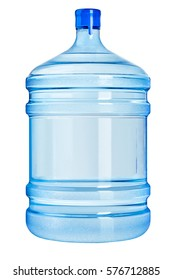 Plastic Large bottle filled with pure crystal drinking water isolated on the white background
