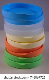 Plastic lids for glass jars.