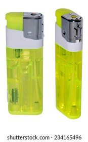 Plastic lighter in yellow isolated over a white background