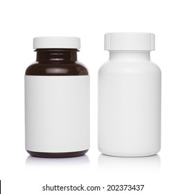 plastic medical containers for pills isolated on white