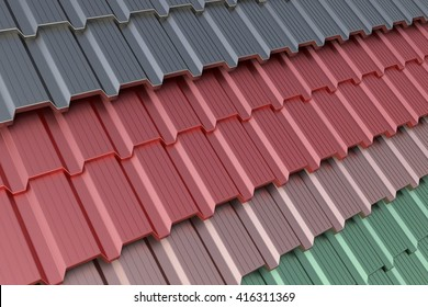 Plastic and metal tiles.The coating material for the roof.