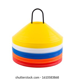 plastic multi-colored cones for roller skating, isolated on white