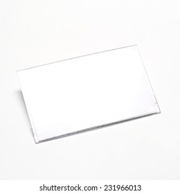 plastic name tag on a white background
