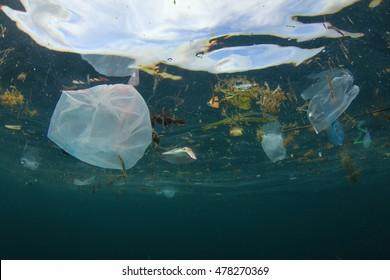 Plastic ocean. Environmental pollution.
