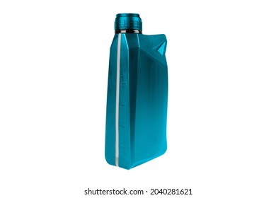 Plastic oil canister isolated on white background. Storage Tank. Canister for gasoline, diesel and gas. Blue plastic canister for technical liquids isolated over white.