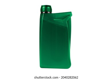 Plastic oil canister isolated on white background. Storage Tank. Canister for gasoline, diesel and gas. Green plastic canister for technical liquids isolated over white.