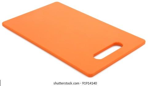 Plastic Orange Cutting Board Over White Background