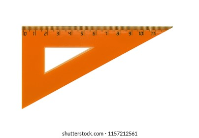 Plastic orange triangle for measuring centimes, millimeters and angles. Isolated on white.