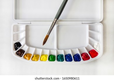 A plastic palette filled with watercolor with paint brush.