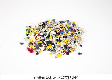 Plastic pellets .Multicolored Plastic granules. Plastic raw materials in granules for industry.