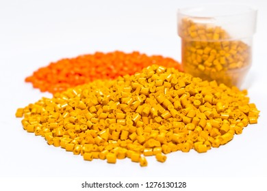 Plastic pellets .Multicolored Plastic granules. Plastic raw materials in granules for industry.
