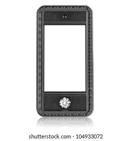plastic phone with  blank touch screen and the diamond button for VIP  isolated on white background (front version)