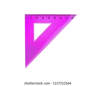 Plastic pink triangle for measuring centimes, millimeters and angles. Isolated on white.