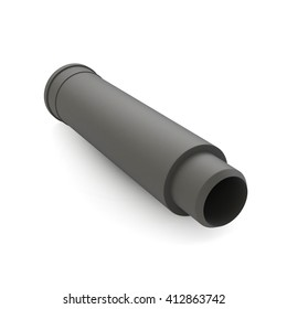 Plastic pipe isolated on white background. 3d illustration