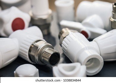 plastic pipes and fittings for plumbing and connections. Plumbing equipment, fittings, pipes, faucet, etc.
