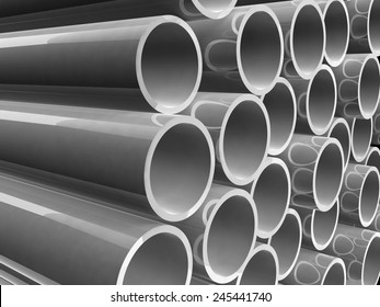 Plastic pipes of grey color