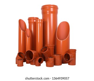 Plastic pipes, various parts of plumbing and sanitary ware, white, orange, and white on a white background