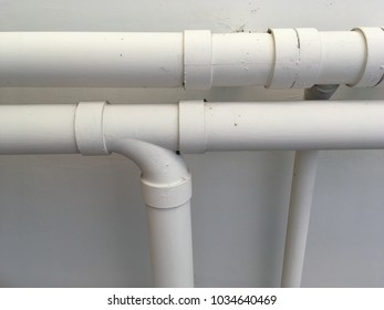 Plastic pipes of water system. Install water pipes at Building.