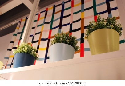 Plastic plant on the shelve. Fake plant decorations.
