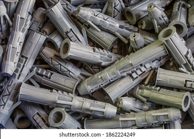 Plastic plugs for screws.This components called quick installation. Background of dowels.